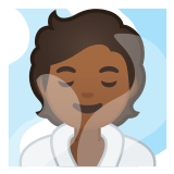 🧖🏾 Person in Steamy Room: Medium-Dark Skin Tone, Emoji by Google