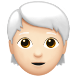 🧑🏻‍🦳 Person: Light Skin Tone, White Hair, Emoji by Apple
