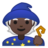 🧙🏿 Mage: Dark Skin Tone, Emoji by Google