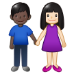 👩🏻‍🤝‍👨🏿 Woman and Man Holding Hands: Light Skin Tone, Dark Skin Tone, Emoji by Samsung