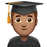 👨🏽‍🎓 Man Student: Medium Skin Tone, Emoji by Apple
