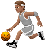 ⛹🏽 Person Bouncing Ball: Medium Skin Tone, Emoji by Apple