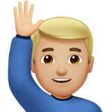 🙋🏼‍♂️ Man Raising Hand: Medium-Light Skin Tone, Emoji by Apple