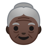 👵🏿 Old Woman: Dark Skin Tone, Emoji by Google