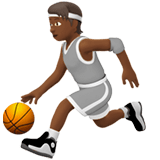 ⛹🏾 Person Bouncing Ball: Medium-Dark Skin Tone, Emoji by Apple