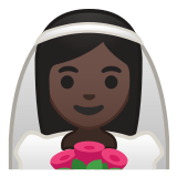 👰🏿 Person with Veil: Dark Skin Tone, Emoji by Google