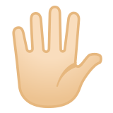 🖐🏻 Hand with Fingers Splayed: Light Skin Tone, Emoji by Google
