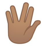 🖖🏽 Vulcan Salute: Medium Skin Tone, Emoji by Google