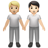 🧑🏼‍🤝‍🧑🏻 People Holding Hands: Medium-Light Skin Tone, Light Skin Tone, Emoji by Apple