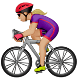 🚴🏼‍♀️ Woman Biking: Medium-Light Skin Tone, Emoji by Apple