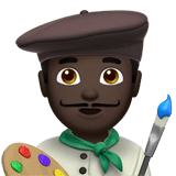 👨🏿‍🎨 Man Artist: Dark Skin Tone, Emoji by Apple