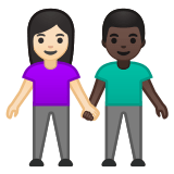 👩🏻‍🤝‍👨🏿 Woman and Man Holding Hands: Light Skin Tone, Dark Skin Tone, Emoji by Google