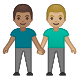 👨🏽‍🤝‍👨🏼 Men Holding Hands: Medium Skin Tone, Medium-Light Skin Tone, Emoji by Google