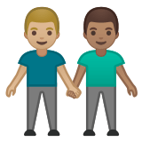 👨🏼‍🤝‍👨🏽 Men Holding Hands: Medium-Light Skin Tone, Medium Skin Tone, Emoji by Google