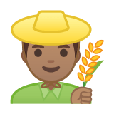 👨🏽‍🌾 Man Farmer: Medium Skin Tone, Emoji by Google