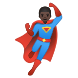 🦸🏿‍♂️ Man Superhero: Dark Skin Tone, Emoji by Google
