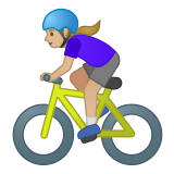 🚴🏼‍♀️ Woman Biking: Medium-Light Skin Tone, Emoji by Google