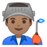 👨🏽‍🏭 Man Factory Worker: Medium Skin Tone, Emoji by Google