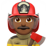 👨🏾‍🚒 Man Firefighter: Medium-Dark Skin Tone, Emoji by Apple