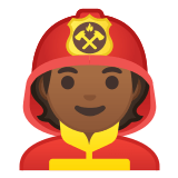 🧑🏾‍🚒 Firefighter: Medium-Dark Skin Tone, Emoji by Google