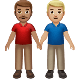 👨🏽‍🤝‍👨🏼 Men Holding Hands: Medium Skin Tone, Medium-Light Skin Tone, Emoji by Apple