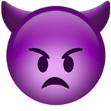 👿 Angry Face with Horns, Apple  Emoji