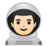👨🏻‍🚀 Man Astronaut: Light Skin Tone, Emoji by Google