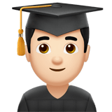 👨🏻‍🎓 Man Student: Light Skin Tone, Emoji by Apple