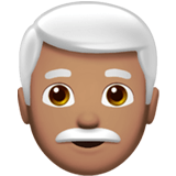 👨🏽‍🦳 Man: Medium Skin Tone, White Hair, Emoji by Apple