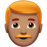 👨🏽‍🦰 Man: Medium Skin Tone, Red Hair, Emoji by Apple