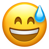 😅 Grinning Face with Sweat, Emoji by Apple