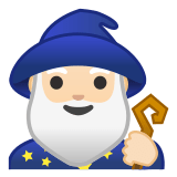 🧙🏻‍♂️ Man Mage: Light Skin Tone, Emoji by Google