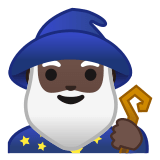 🧙🏿‍♂️ Man Mage: Dark Skin Tone, Emoji by Google