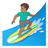 🏄🏽‍♂️ Man Surfing: Medium Skin Tone, Emoji by Google