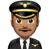 👨🏽‍✈️ Man Pilot: Medium Skin Tone, Emoji by Apple