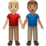 👨🏼‍🤝‍👨🏽 Men Holding Hands: Medium-Light Skin Tone, Medium Skin Tone, Emoji by Apple