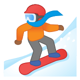 🏂🏾 Snowboarder: Medium-Dark Skin Tone, Emoji by Google
