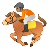 🏇🏽 Horse Racing: Medium Skin Tone, Emoji by Google
