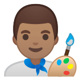 👨🏽‍🎨 Man Artist: Medium Skin Tone, Emoji by Google