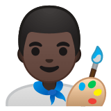 👨🏿‍🎨 Man Artist: Dark Skin Tone, Emoji by Google