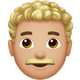 👨🏼‍🦱 Man: Medium-Light Skin Tone, Curly Hair, Emoji by Apple