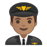 👨🏽‍✈️ Man Pilot: Medium Skin Tone, Emoji by Google