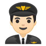 👨🏻‍✈️ Man Pilot: Light Skin Tone, Emoji by Google