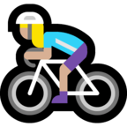 🚴🏼‍♀️ Woman Biking: Medium-Light Skin Tone, Emoji by Microsoft