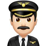 👨🏻‍✈️ Man Pilot: Light Skin Tone, Emoji by Apple