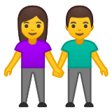 👫 Woman and Man Holding Hands, Emoji by Google