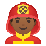 👨🏾‍🚒 Man Firefighter: Medium-Dark Skin Tone, Emoji by Google