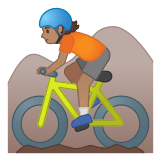 🚵🏽 Person Mountain Biking: Medium Skin Tone, Emoji by Google