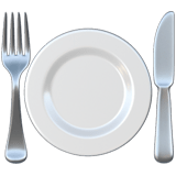 🍽️ Fork and Knife with Plate, Emoji by Apple