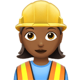 👷🏾‍♀️ Woman Construction Worker: Medium-Dark Skin Tone, Emoji by Apple